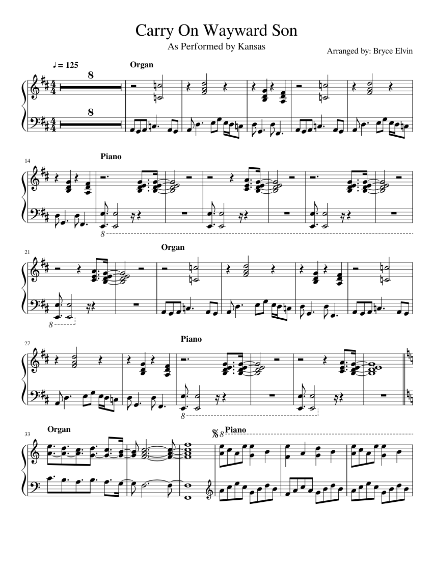 carry on wayward son piano sheet music pdf