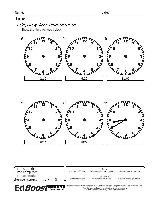 telling time to the minute pdf