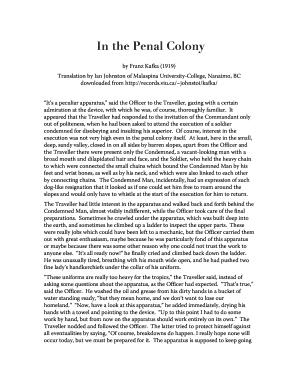 kafka in the penal colony pdf