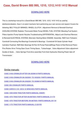 david brown 1212 manual pdf
