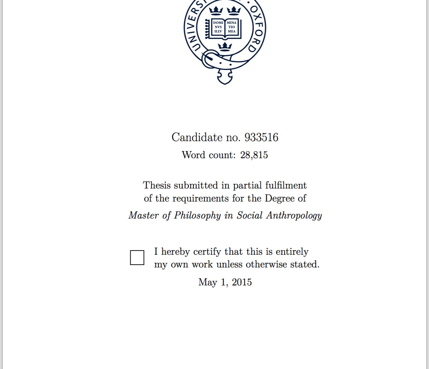 Master thesis proposal